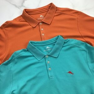 Tommy Bahama Short Sleeve Polo Lot XXL Orange Teal